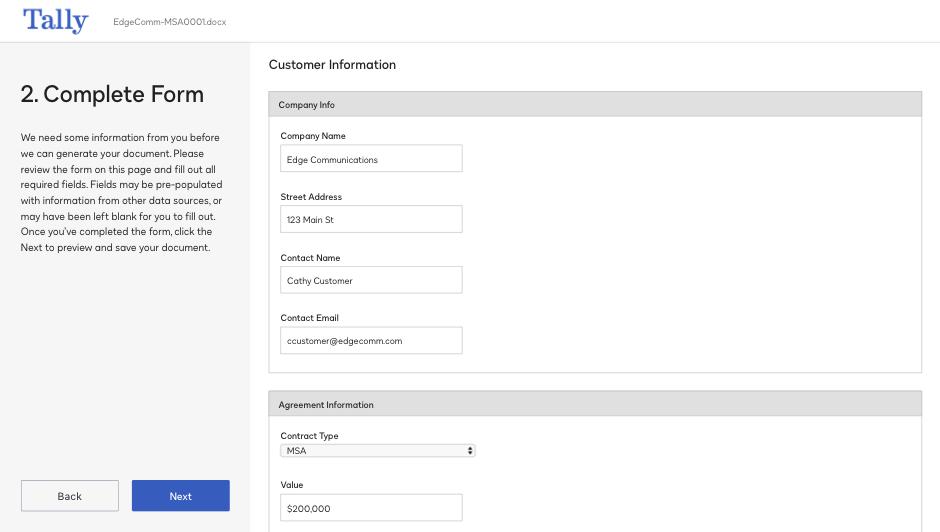 Copie d'écran de complétude d'un formulaire dans le système