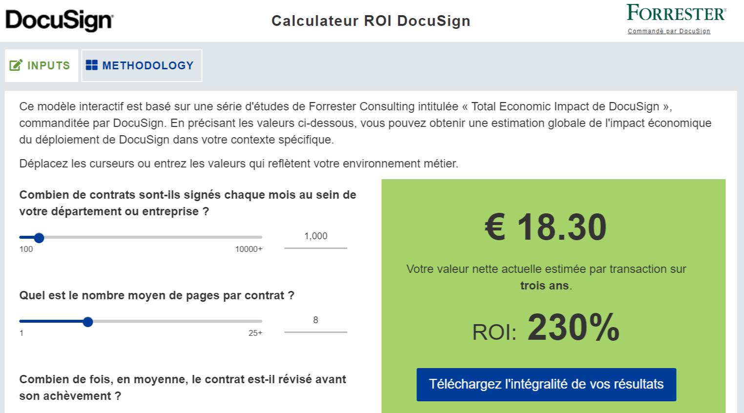 Capture d'écran de l'outil de calcul du retour sur investissement