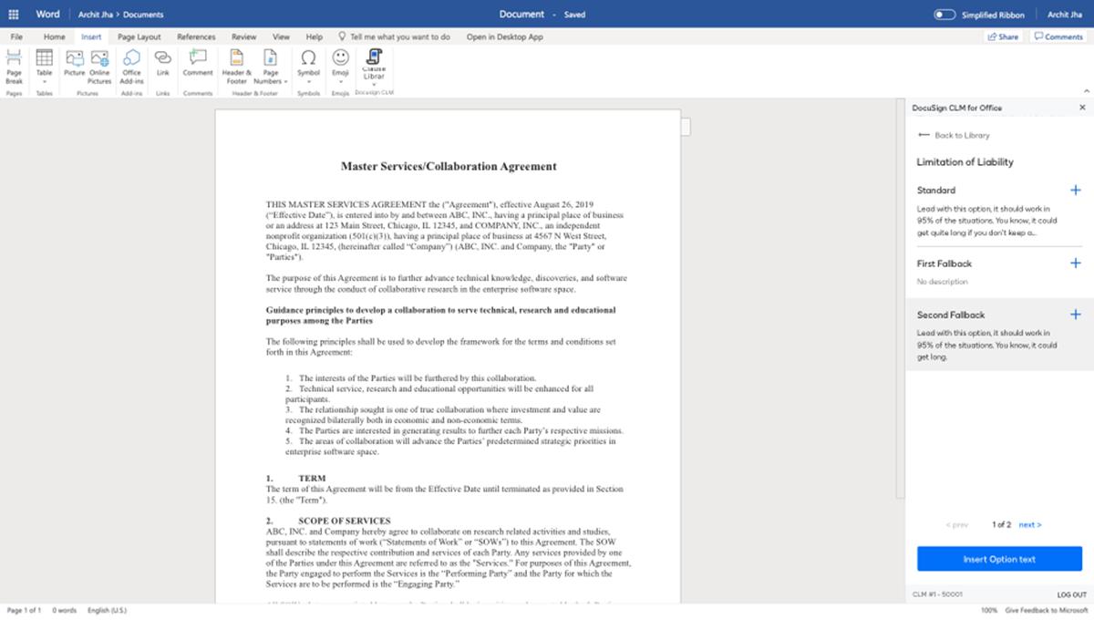 Capture d'écran d'une bibliothèque de clauses dans le système