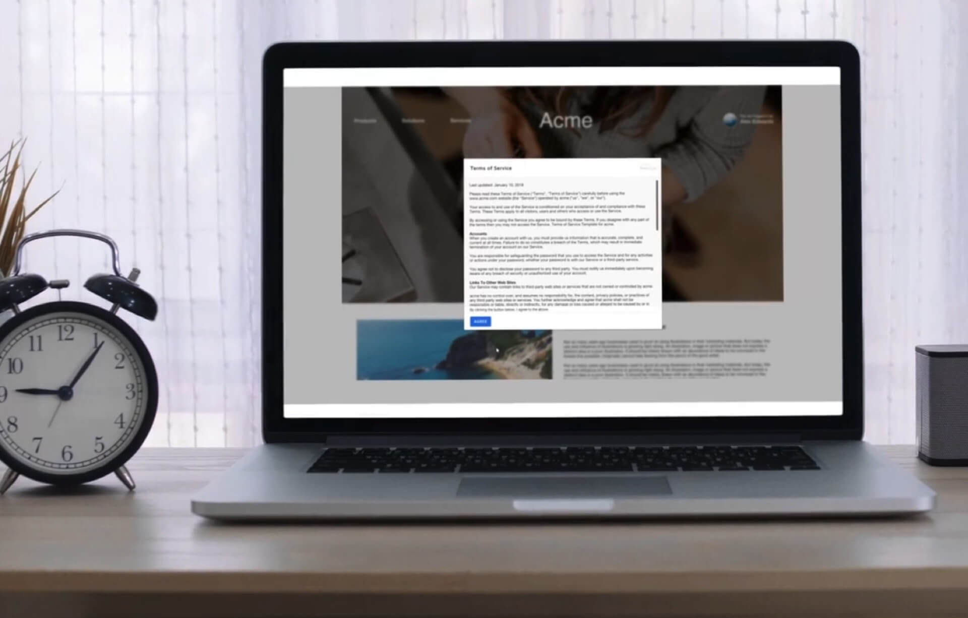 A terms of service agreement in a lightbox within a web browser.