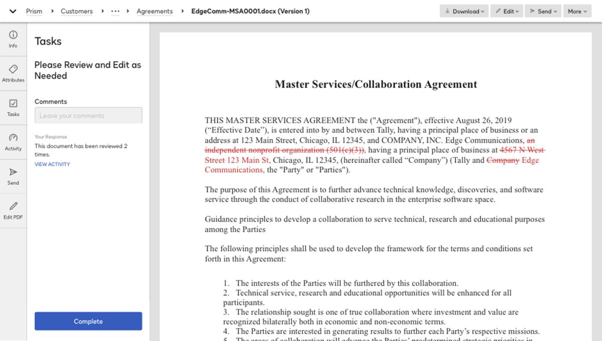 Capture d'écran de la révision d'un contrat dans le système
