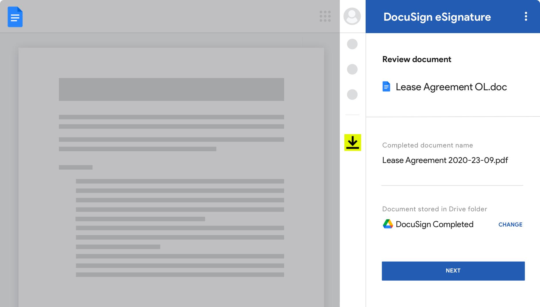 Google Docs avec DocuSign eSignature montrant des accords et leur statut.