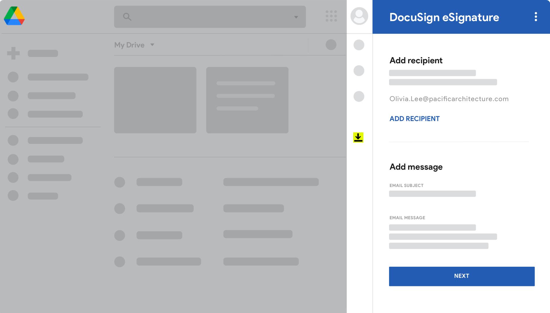 Google Drive avec DocuSign eSignature.