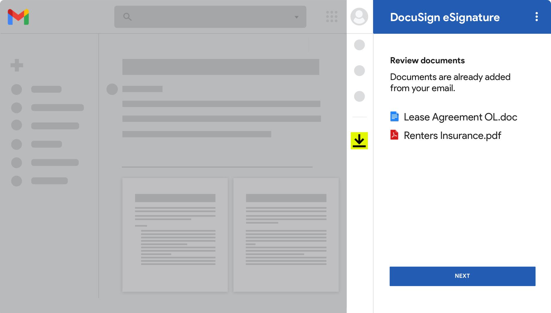 Capture d'écran Gmail montrant des documents prêts à être consultés dans DocuSign eSignature.