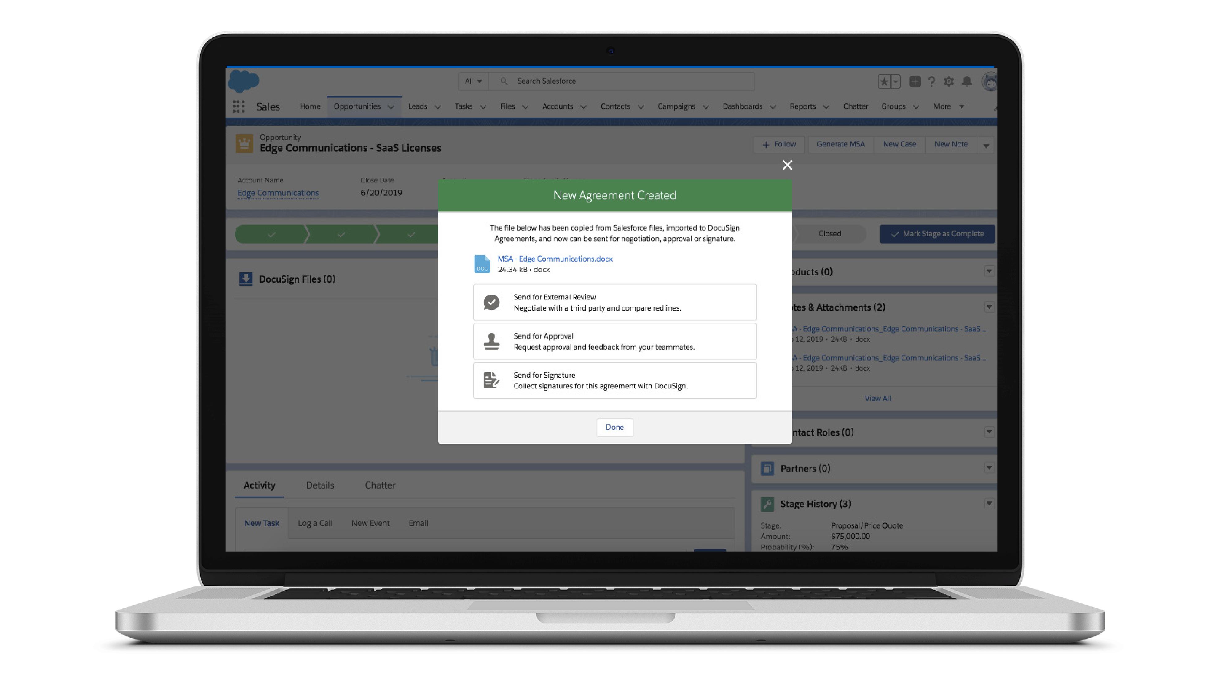 Capture d'écran de l'interface Negotiate pour Salesforce