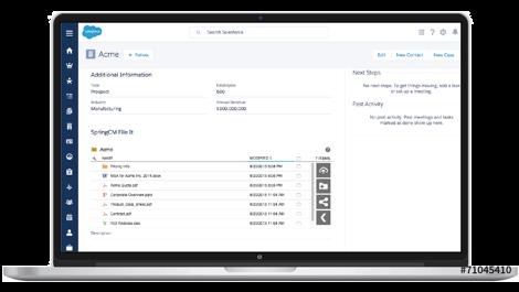 Un ordinateur portable affichant des données CLM dans l'interface Salesforce