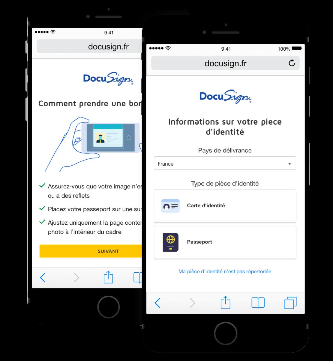 Deux téléphones portables, l'un indiquant les instructions sur la façon de télécharger sa pièce d'identité et l'autre demandant des informations sur votre identité.
