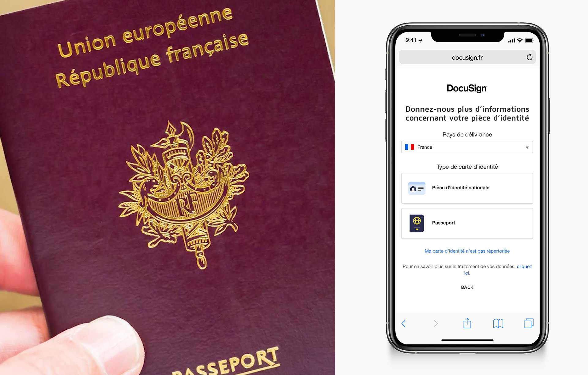 """Une image montrant une main tenant un passeport à gauche et à droite un téléphone invitant à """"Partagez votre identité"""""""