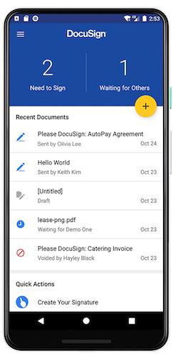 Capture d'écran de l'application mobile DocuSign pour Android.