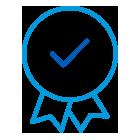 Icône de badge contenant une coche en son centre.