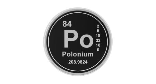 Polonium, élément numéro 84 du tableau de classification périodique des éléments