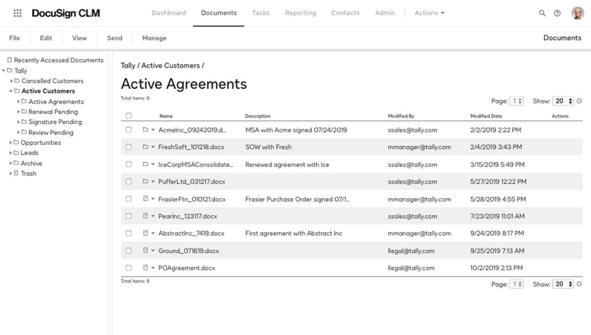 Capture d'écran d'un référentiel consultable pour les accords actifs dans le système