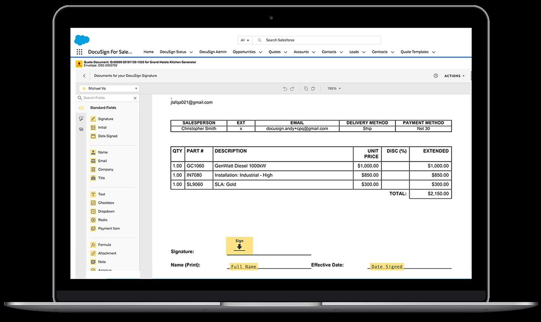 Un ordinateur portable montrant l'interface de Salesforce avec une enveloppe DocuSsign ouverte, en train d'être modifiée