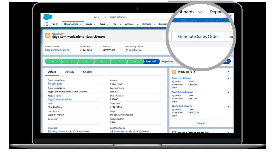 Capture d'écran de DocuSign Gen pour Salesforce.