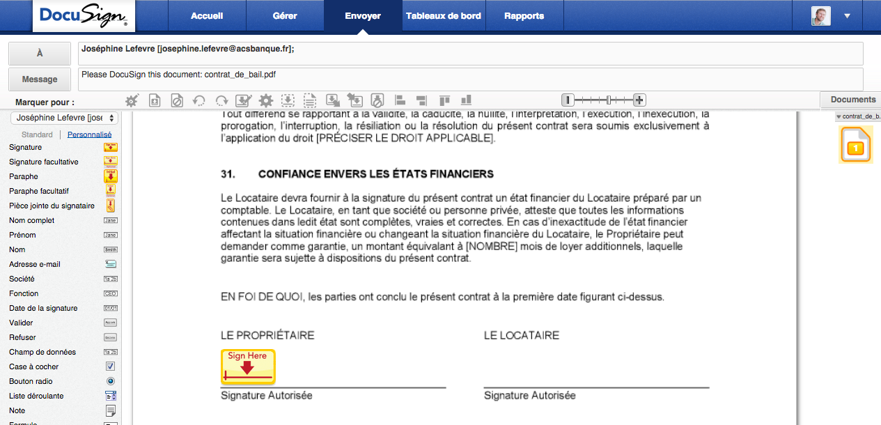 Insertion de balises sur la plateforme signature électronique DocuSign