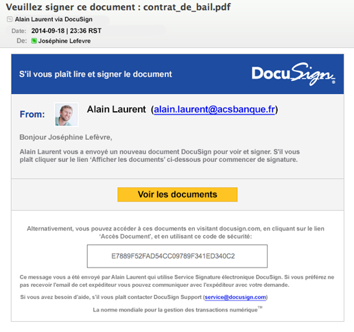 Signature d'un document reçu par email via la plateforme DocuSign