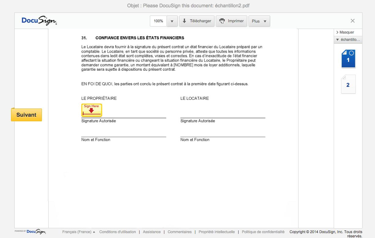 Suivi des balises de lectures sur la plateforme de signature électronique DocuSign