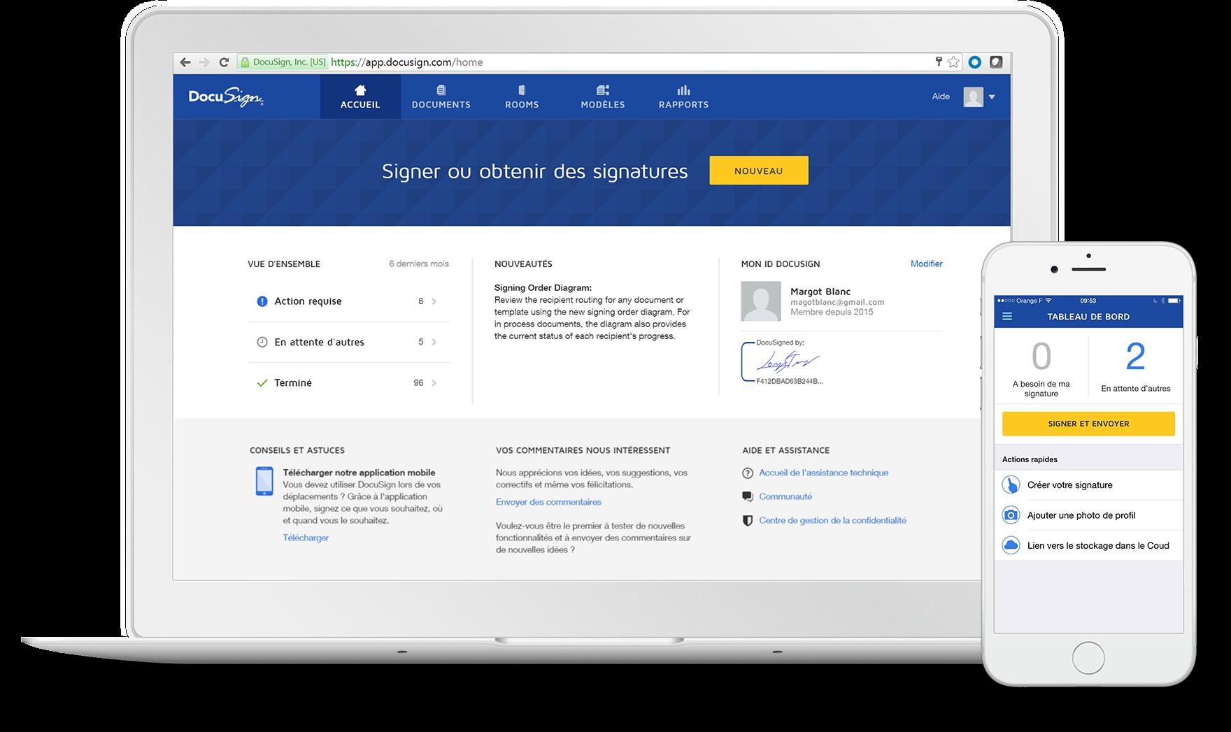 Signature électronique sur mobile et tablette