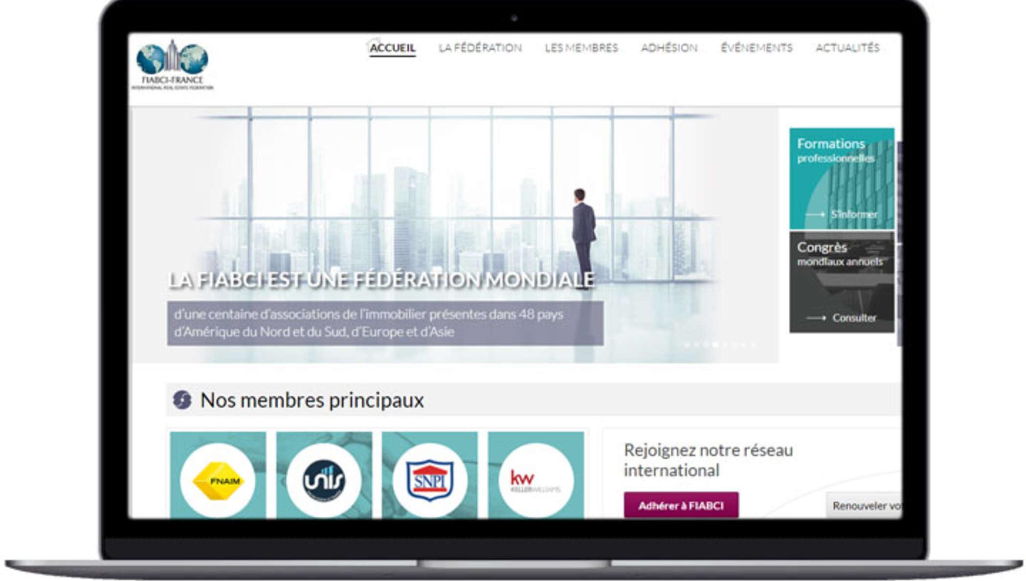 Capture d'écran du site web de FIABCI